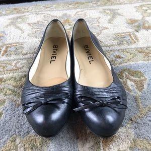 Biviel Anthropology Black Leather Ballet Flats 10